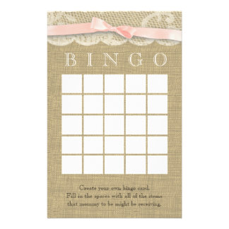 Vintage Lace and Bow Shower Bingo Stationery