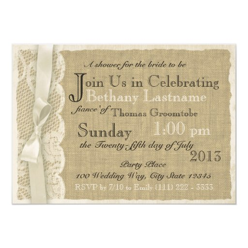 vintage lace wedding invitations vintage lace and burlap bridal shower card zazzle 8288