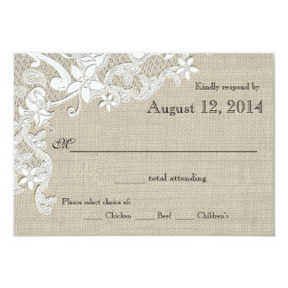 Vintage Lace and Burlap Country Romance Reply 3.5x5 Paper Invitation Card