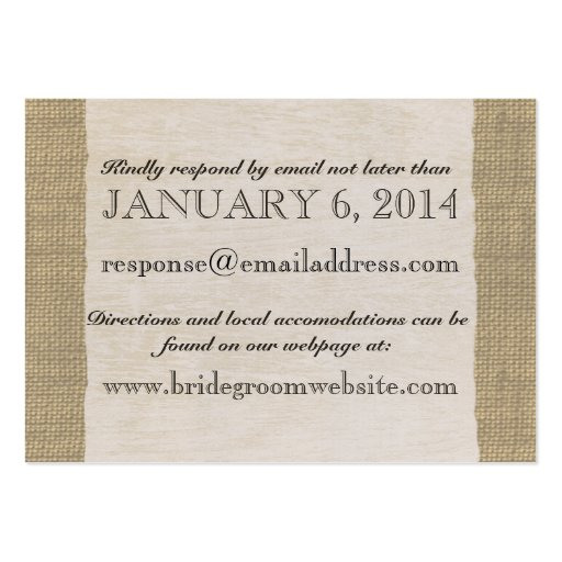 Vintage Lace and Burlap Look Insert card Business Card Templates