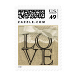 Vintage Lace and Burlap Love Stamp
