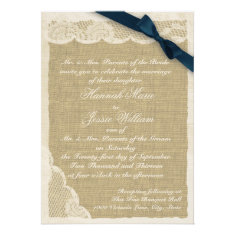 Vintage Lace and Burlap Navy Blue Ribbon Personalized Invitation