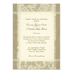 Vintage Lace and Burlap on Felt Paper 7x5 Wedding Card