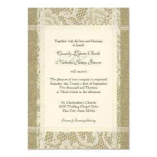 Vintage Lace and Burlap on Felt Paper 7x5 Wedding 5x7 Paper Invitation Card