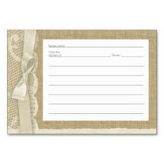 Vintage Lace and Burlap Recipe Cards Table Cards