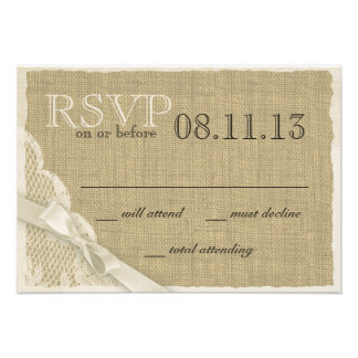 Vintage Lace and Burlap Response Card