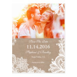 Vintage Lace and Burlap Save the Date Postcard