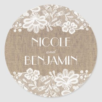Vintage Lace and Burlap Wedding Classic Round Sticker