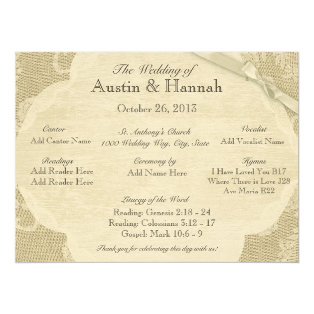 Of wedding invitation cards 63 on wedding invitation cards new designs - Vintage Lace And Burlap Wedding Program Card Zazzle