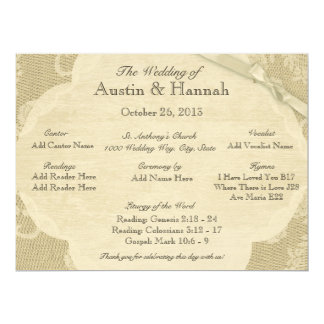 Vintage Lace and Burlap Wedding Program Card