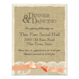 Vintage Lace and Coral Bow Reception Card