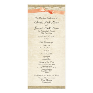 Vintage Lace and Coral Bow Wedding Program