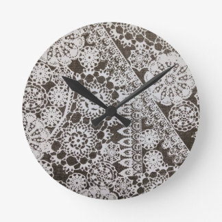 Vintage Lace and Doilies Round Wall Clock