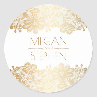 Vintage Lace and Gold and White Wedding Classic Round Sticker