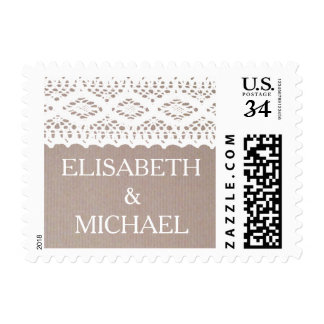 Vintage Lace And Kraft Paper Effect Wedding Postage