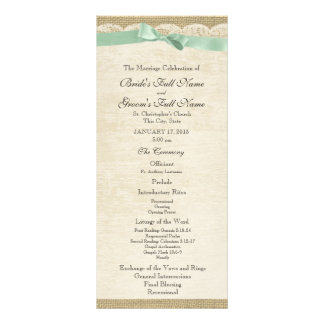 Vintage Lace and Mint Green Bow Wedding Program Rack Card Template