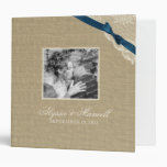 Vintage Lace and Navy Blue Bow Design with Photos 3 Ring Binders