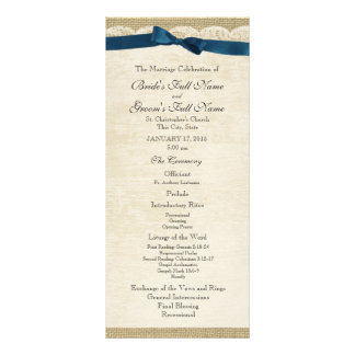 Vintage Lace and Navy Blue Bow Wedding Program Customized Rack Card