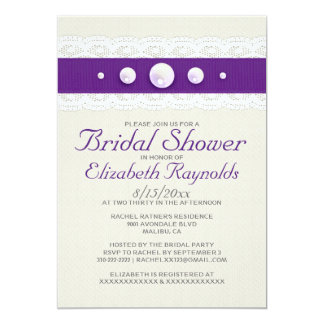 "Vintage Lace and Pearl Bridal Shower Invitations 5"" X 7"" Invitation Card"