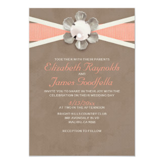"Vintage Lace and Pearls Wedding Invitations 5"" X 7"" Invitation Card"