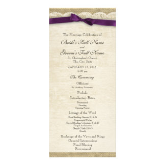 Vintage Lace and Purple Bow Wedding Program