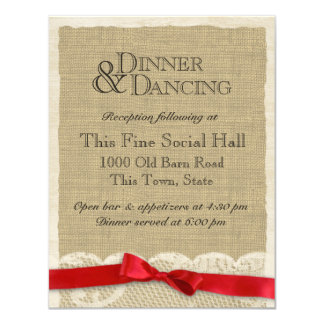 Vintage Lace and Red Bow Reception Card