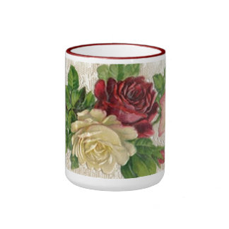 Vintage Lace and Roses Ringer Coffee Mug