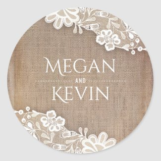 Vintage Lace and Rustic Burlap Wedding Classic Round Sticker