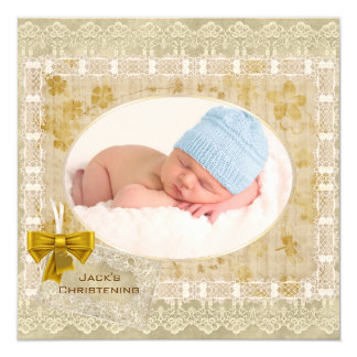"Vintage Lace Baby Boy Photo Baptism Christening 5.25"" Square Invitation Card"