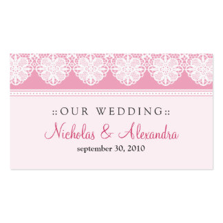 Vintage Lace Baby Pink Wedding Website Card Double-Sided Standard Business Cards (Pack Of 100)