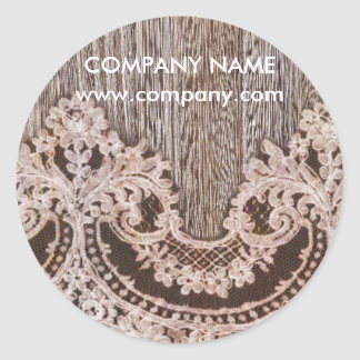 vintage lace barn wood western country fashion classic round sticker