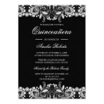 Hand shaped Vintage Lace Black White Quinceanera Invitation