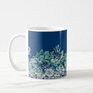 Vintage Lace Blue Roses Coffee Mug