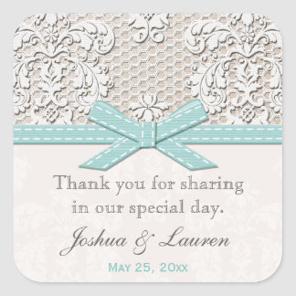 Vintage Lace Blue Wedding Favor Labels Stickers