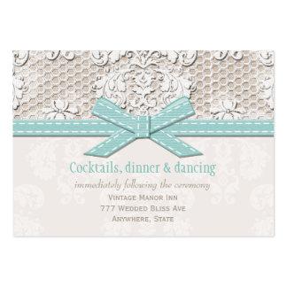 Vintage Lace Blue Wedding Reception Enclosure Card Business Card Template