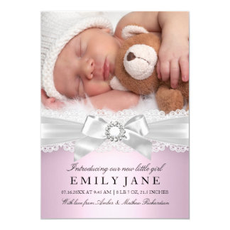 Vintage Lace & Bow Pink Photo Birth Announcement