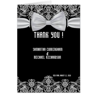 Vintage Lace Bow Wedding Thank You Card