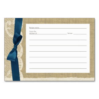 Vintage Lace Burlap and Navy Bow Recipe Cards Table Card