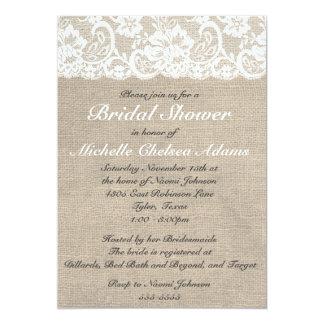 Vintage Lace Burlap Bridal Shower Invitation