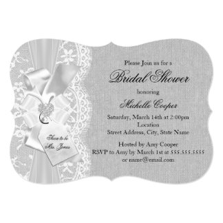 Vintage Lace & Burlap Gray Bridal Shower Invite
