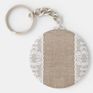 Vintage, lace, burlap, grunge, victorian, shabby basic round button keychain