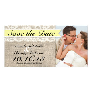 Vintage Lace & Burlap Look Save the Date - Yellow Card