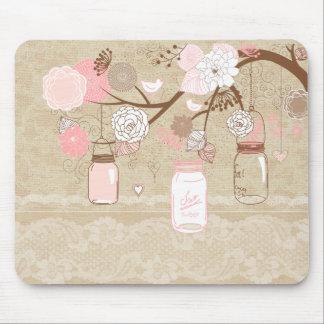 Vintage Lace & Burlap Mason Jar Tree Mouse Pad