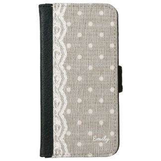 Vintage Lace & Burlap Polka Dots Custom Name iPhone 6 Wallet Case