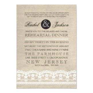"Vintage Lace & Burlap Rehearsal Dinner Invitation 5"" X 7"" Invitation Card"