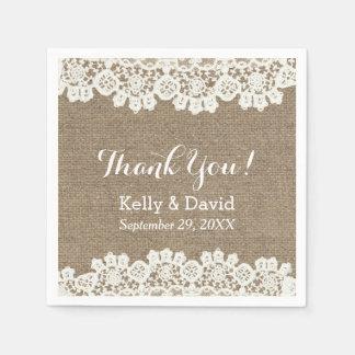 Vintage Lace & Burlap Rustic Wedding Thank You Paper Napkin