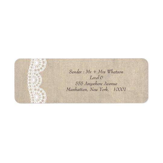 Vintage Lace & Burlap Wedding Address Labels