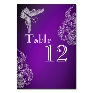 VINTAGE LACE & BUTTERFLIES PURPLE OMBRÉ Table Card