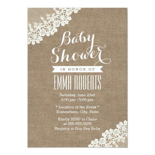 Vintage Lace Corner Burlap Baby Shower Invitations