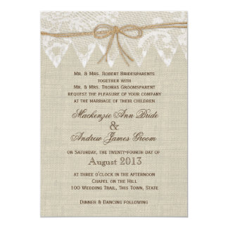 Vintage Lace Country Fair Wedding 5x7 Paper Invitation Card